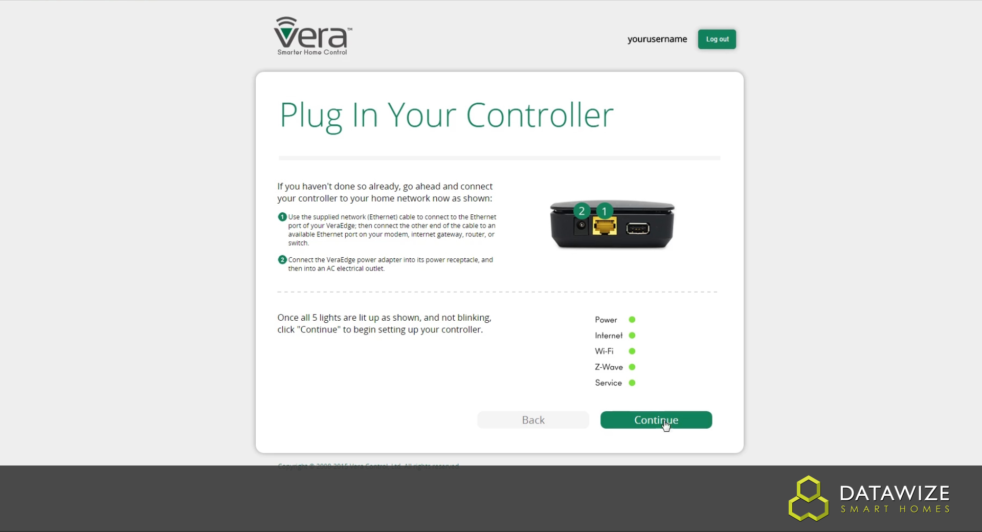 How to Setup a VeraEdge - Plug in your controller